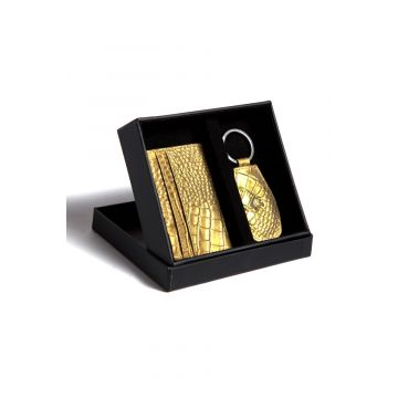 Kordovan LeatherGift Pack (Keychain + Card Holder) Croc Print Golden - 21020217