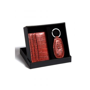 Kordovan LeatherGift Pack (Keychain + Card Holder) Croc Print Red - 21020218