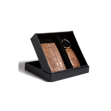 Kordovan LeatherGift Pack (Keychain + Card Holder) Croc Print Brown - 21020220