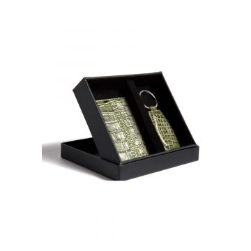 Kordovan LeatherGift Pack (Keychain + Card Holder) Croc Print Green - 21020219