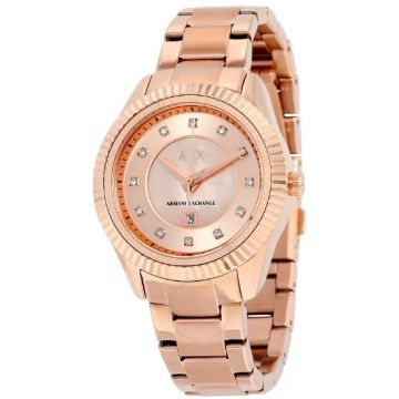 Armani Exchange AX5432 Dylann Rose Dial Rose Gold-tone Stainless Steel Ladies Watch