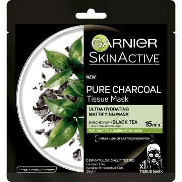 Garnier Pure Charcoal Black Tea Tissue Mask, Mattifying - 456 - 123450467