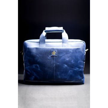Kordovan Leather Crazy Horse Laptop Bag Blue - 21020472