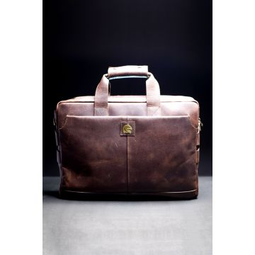 Kordovan Leather Crazy Horse Laptop Bag Dark Brown - 21020309