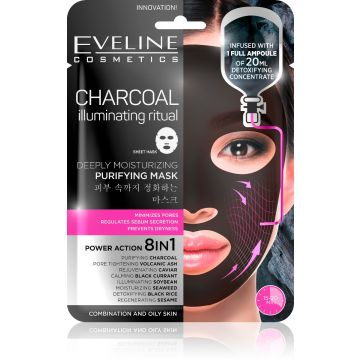 Eveline Charcoal Moisturizing Face Sheet Mask - 07-20-00016