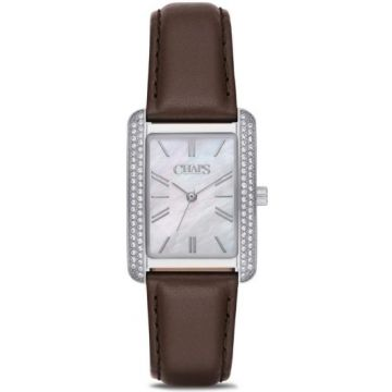 Chaps Women's Reece Dark Brown Leather Three-Hand Watch - CHP1019