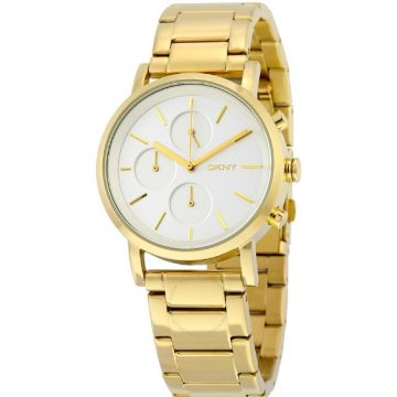 DKNY Soho Silver Dial Gold-Tone Ladies Watch - NY2274