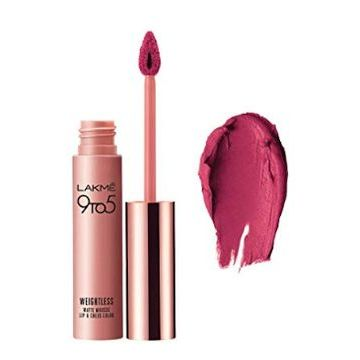 Lakme 9 To 5 Weightless Mousse Lip And Cheek Color - Fuchsia Suede - 9g