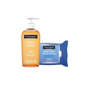Neutrogena Facial Wash Deep Clean Gel - 200ml + Neutrogena Makeup Remover, Facial Wipes, Deep Clean Pack 25 Wipes