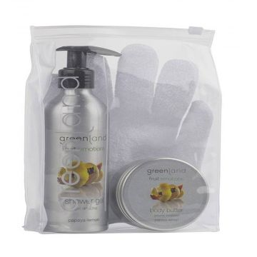 Greenland  Fruit Emotions Giftset - Scrub Glove, Shower Gel, & Body Butter, Papaya - Lemon - FE0191