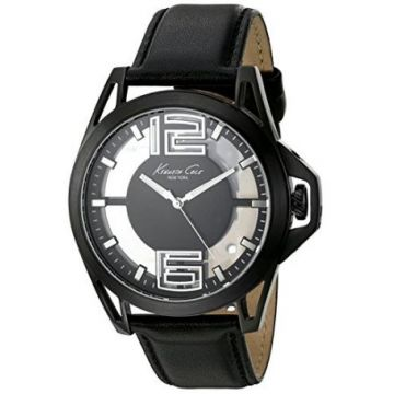 Kenneth Cole Quartz Stainless Steel And Black Leather Men's Watch - 10022526
