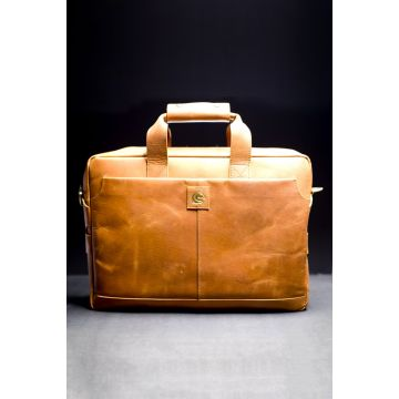 Kordovan Leather Crazy Horse Laptop Bag Light Brown - 21020362