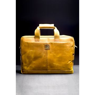 Kordovan Leather Crazy Horse Laptop Bag Mustard  - 21020473