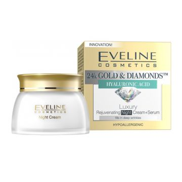Eveline 24K Gold & Diamonds Night Cream + Serum 50ml