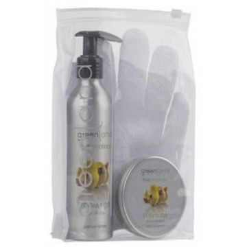 Greenland Bodycare Pack of 3 - Scrub Glove, Shower Gel 200 Ml & Body Butter 100 Ml - Lemon - FE0191