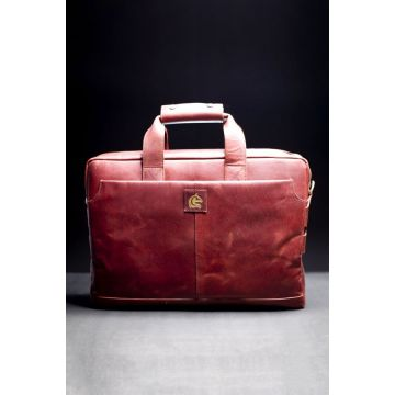 Kordovan Leather Crazy Horse Laptop Bag Red - 21020361