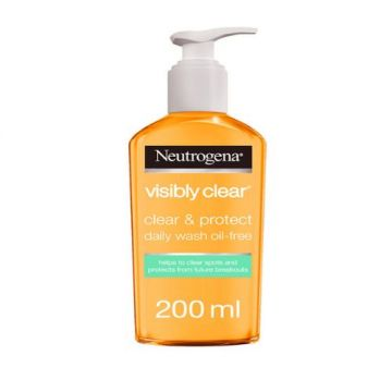 Neutrogena Facial Wash, Visibly Clear, Clear & Protect, Oil-free - 200ml