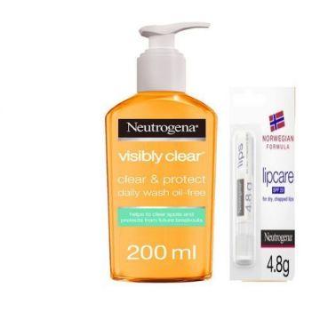 Neutrogena Facial Wash, Visibly Clear, Clear & Protect, Oil-free - 200ml + Neutrogena Lip Moisturiser, Norwegian Formula, SPF20 - 4.8g