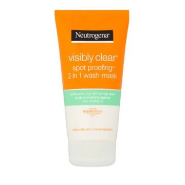 Neutrogena Facial Wash, Visibly Clear, 2-in-1 Wash Mask - 150ml